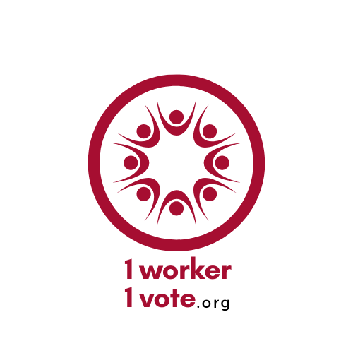 logo of 1worker1vote in a circle